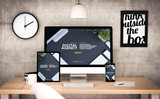 office workplace with digital agency devices collection - 163137845