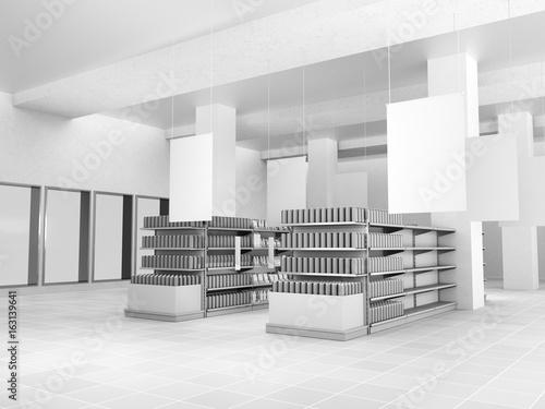 supermarket interior with hangers