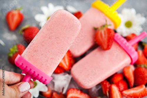 Delicious strawberry popsicles ice cream