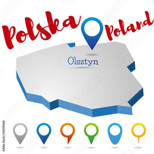 Fototapeta Poland outline map, Olsztyn, vector illustration