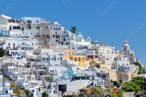 White town of Fira in the Greek island of Santorini