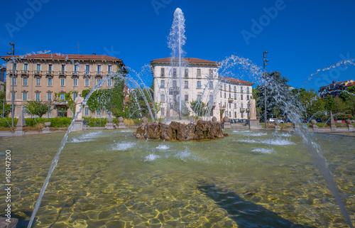 MILAN, ITALY, JUNE 7, 2017 - Four seasons fountain, Giulio Cesare Square, 3 Torri, Milan, Italy