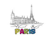 Paris beautiful sketched icon