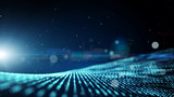 Dark blue abstract animation background with moving and flicker particles form. Backdrop of bokeh light ray effect. - 163153027