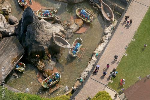Aerial view of amusement park