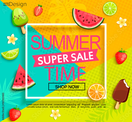 Summer super sale banner with fruits.