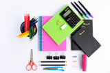 Top view of office supplies and stationery on white background - 163164649