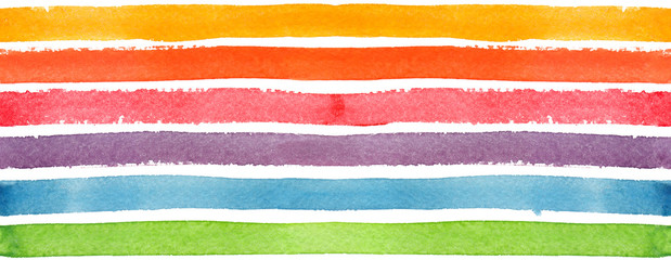 Seamless pattern with horizontal rainbow stripes painted in watercolor on white isolated background © tina bits