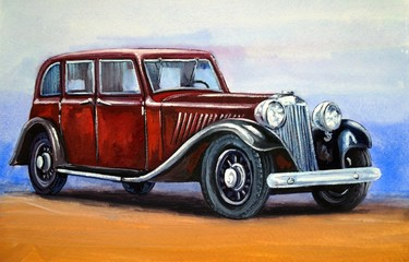 Car, retro, watercolor background, paintings