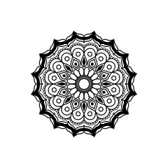 black silhouette abstract flower mandala vintage decorative ornament vector illustration