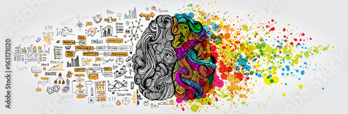 Naklejka Left right human brain concept. Creative part and logic part with social and business doodle