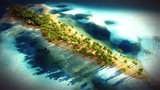Small tropical island in Maldives atoll from aerial view 3d rendering - 163173026