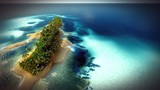 Small tropical island in Maldives atoll from aerial view 3d rendering - 163173091