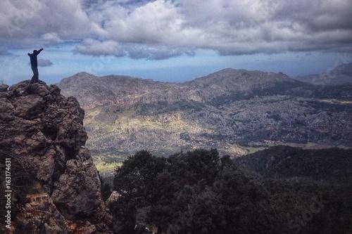 Hikers in the Tramuntana mountains, Mallorca, Spain