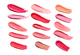 Collage of lip gloss on a white background - 163179663