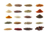 Collage of different seasoning on white background - 163179669