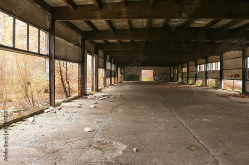 Abandoned post industrial hall in autumn