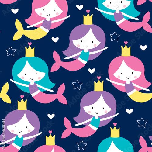 Cotton fabric seamless mermaid pattern vector illustration