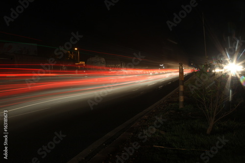 The light trails on the street in Mumbai India.