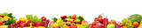Panoramic collection fresh fruits and vegetables for skinali isolated on white