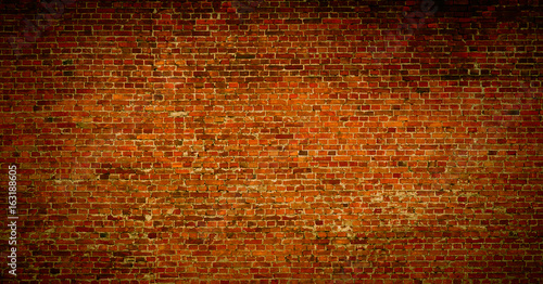 Deurstickers Baksteen muur Brick wall of red color background