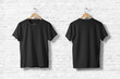 Blank Black T-Shirts  Mock-up hanging on white wall, front and rear side view . Ready to replace your design