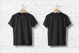Blank Black T-Shirts  Mock-up hanging on white wall, front and rear side view . Ready to replace your design - 163190687