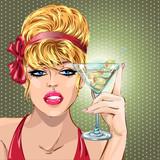 Pin up sexy blondynka pijąc martini, portret dziewczyny pop sztuki, świętować wygląd ilustracji wektorowych