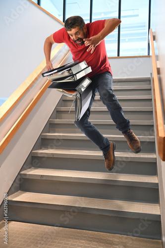 Man Falling on Stairs