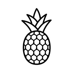 Pineapple tropical fruit with leaves line art vector icon for food apps and websites