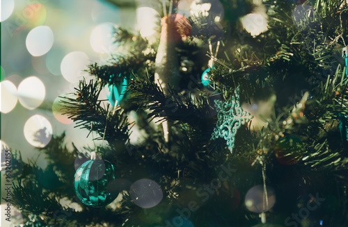 Christmas background and circle light bokeh with vintage style