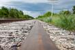 Closeup of Rail and Tracks in Canadian Prairies