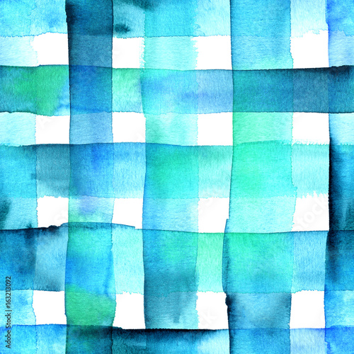 Cotton fabric Seamless abstract watercolor texture with teal blue squares