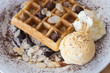waffles with chocolate sauce and ice cream