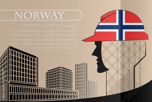 Building logo made from the flag of Norway ,construction working industry concept. Vector illustration - 163214201