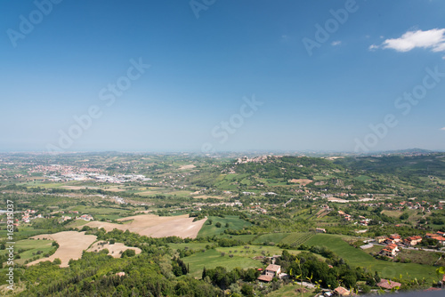 Fortifications and views in the village of Torriana. Rimini.