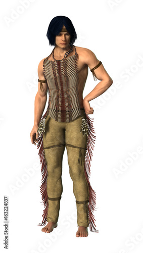 3D Rendering Native American Man on White