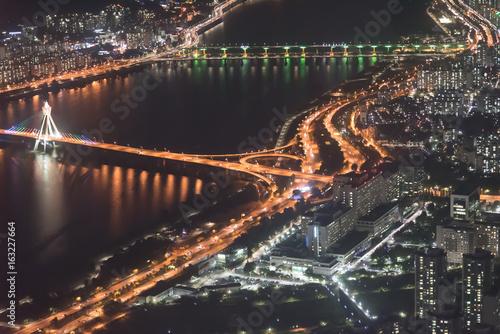 Night panorama of Seoul big bridge over the river