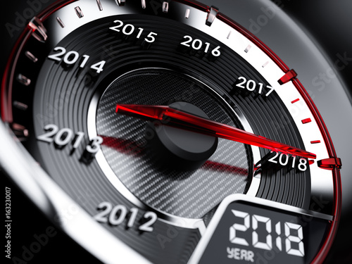 Poster 2018 year car speedometer. Countdown concept
