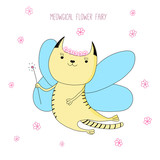 Hand drawn vector doodle of cute funny fairy cat with wings and magic wand, with text