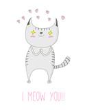 Ręcznie rysowane wektor doodle cute funny kot rozłożony w miłości z różowego serca i tekst I meow you