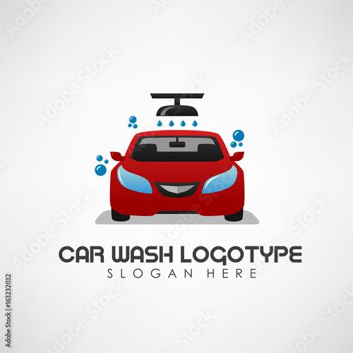 Papiers peints Nautique motorise Car wash concept with auto shower and water drops. Vector Illustration