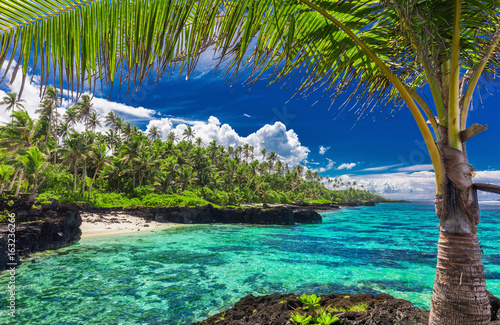 Panel Szklany Beach with coral reef on south side of Upolu framed by palm leaves, Samoa
