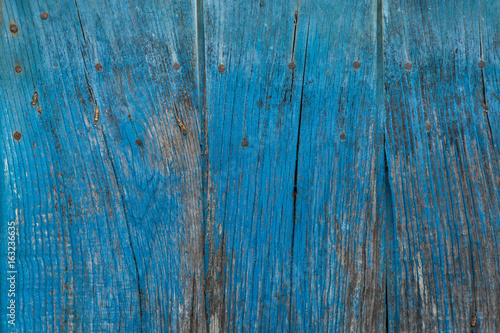 Wooden planks painted blue.