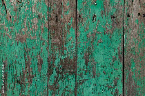 Wooden planks painted green.