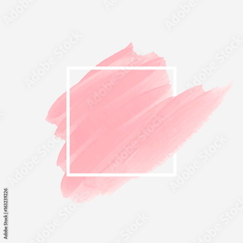 Poster Logo brush painted acrylic abstract background design illustration vector over square frame. Perfect watercolor design for headline, logo and sale banner.