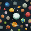 Seamless Planets And Asteroid Background - 163243823