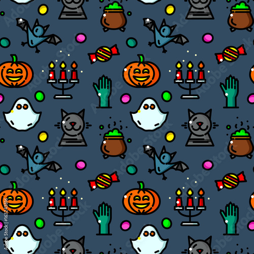 Cotton fabric Halloween seamless pattern vector illustration