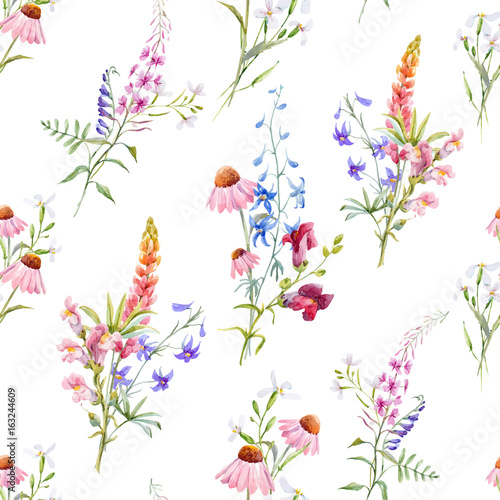 Watercolor floral summer vector pattern - 163244609