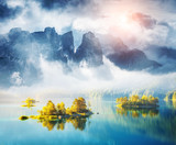 Fototapety View of the islands and turquoise water at Eibsee Lake, Bavarian alp, Europe.